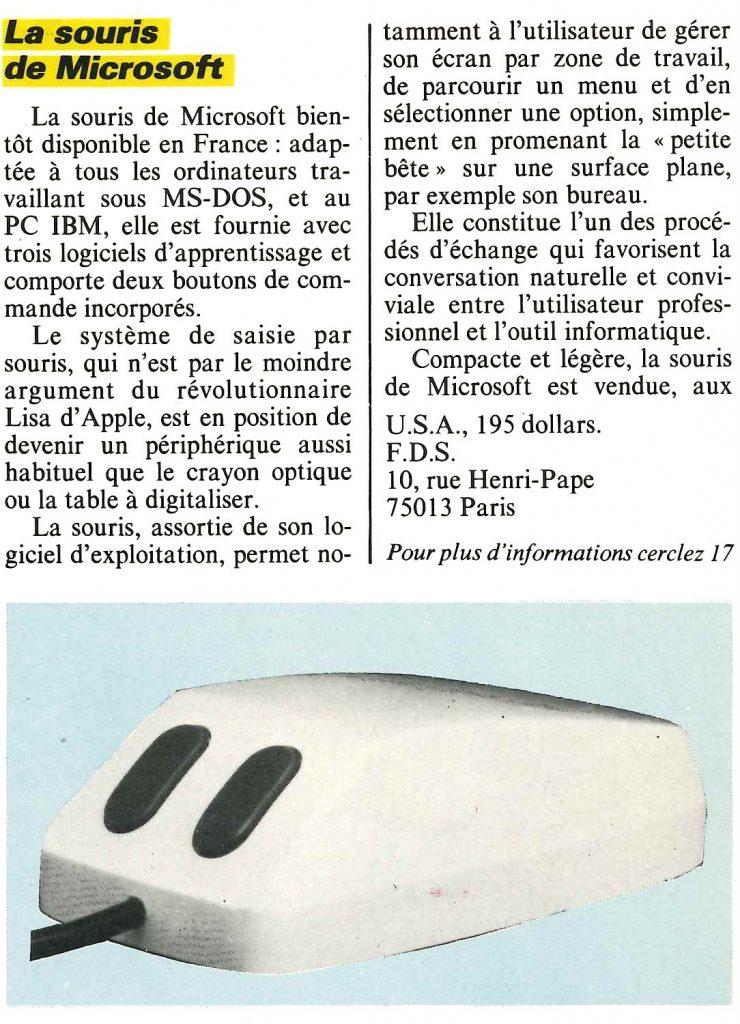 1983 : la souris de Microsoft