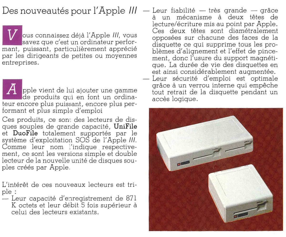 DuoFile et UniFile d'Apple dans une brochure de 1983