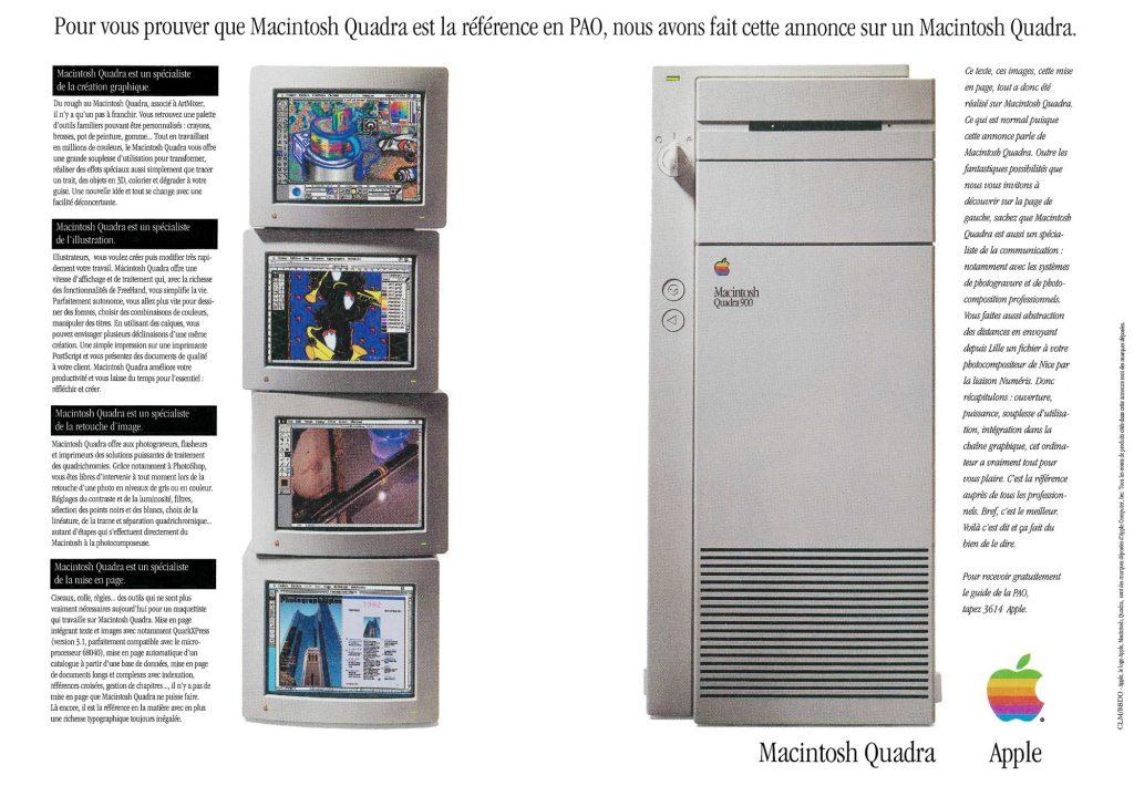 Publicité Apple Quadra 900 de 1992