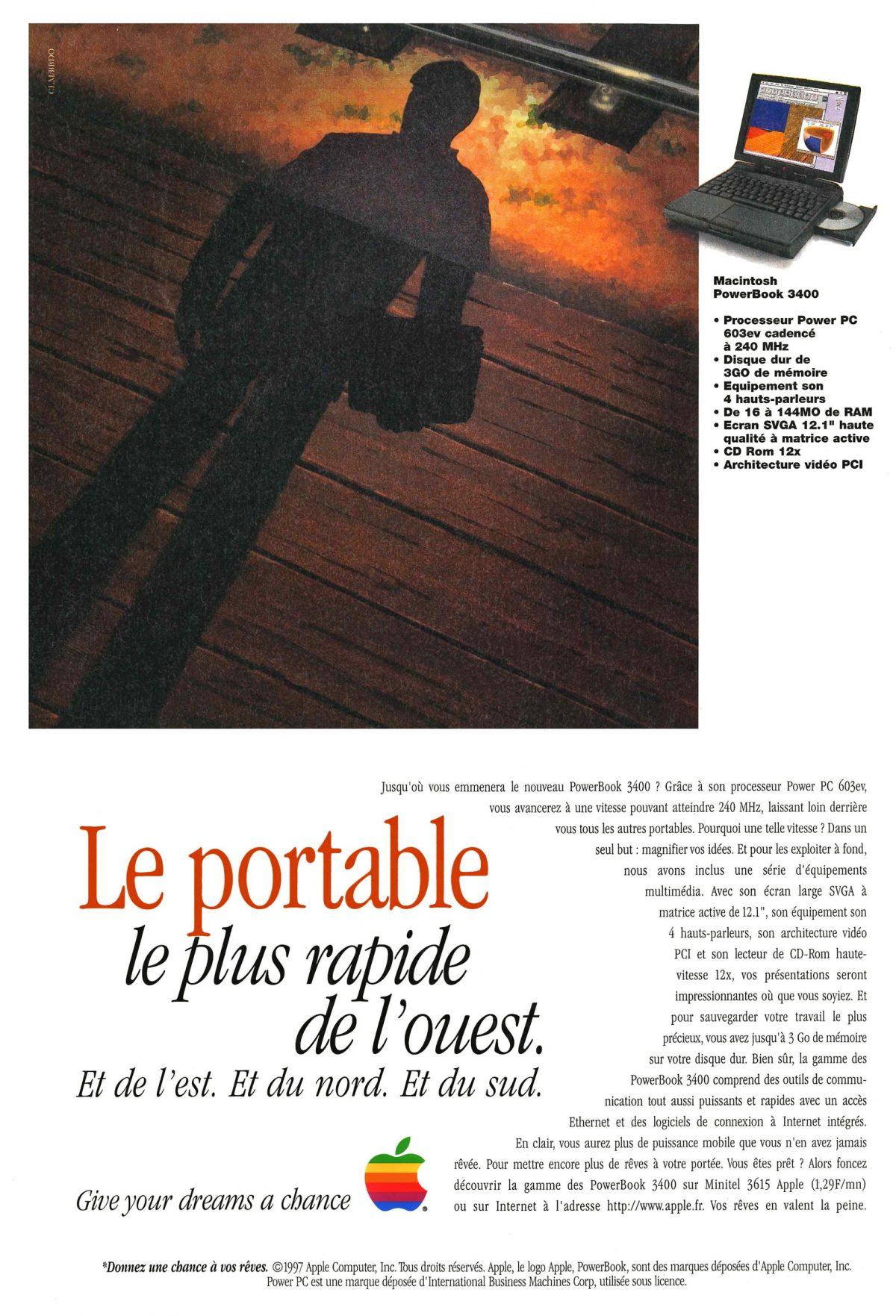 Publicité pour le PowerBook 3400 d'Apple en 1999