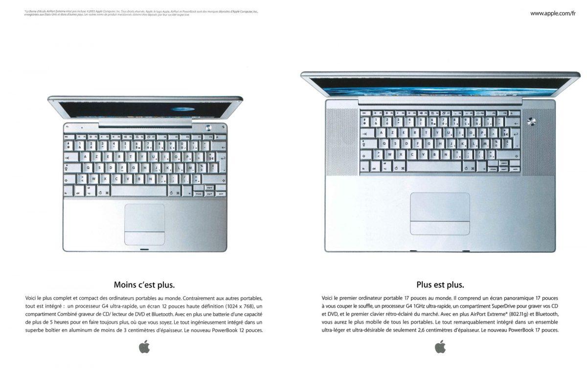 Publicité pour les PowerBooks G4 12 et 17 pouces d'Apple