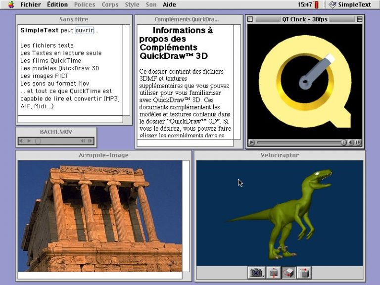 SimpleText sur MacOS 8 : MOV, texte, QuickDraw 3D...