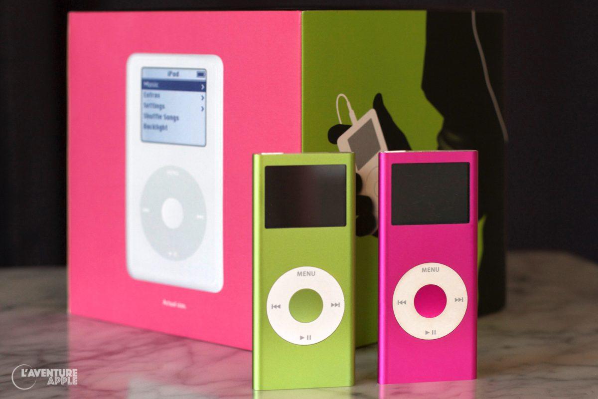 iPod nano rose et vert, boîte d'iPod 4G