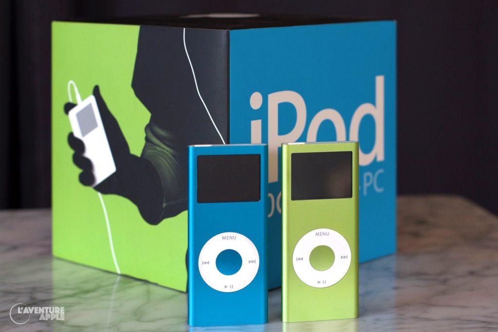 iPod nano bleu et vert, boîte d'iPod 4G