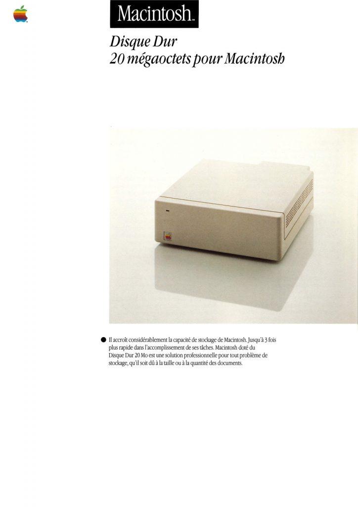 Brochure pour le disque dur externe du Mac, le HD20