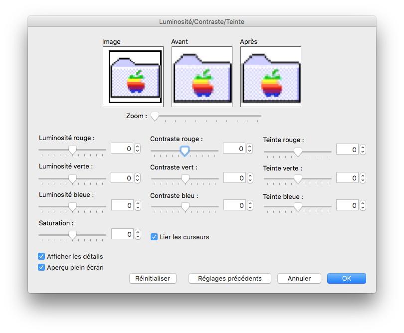 Graphic Converter Luminosité, Contraste, Teinte