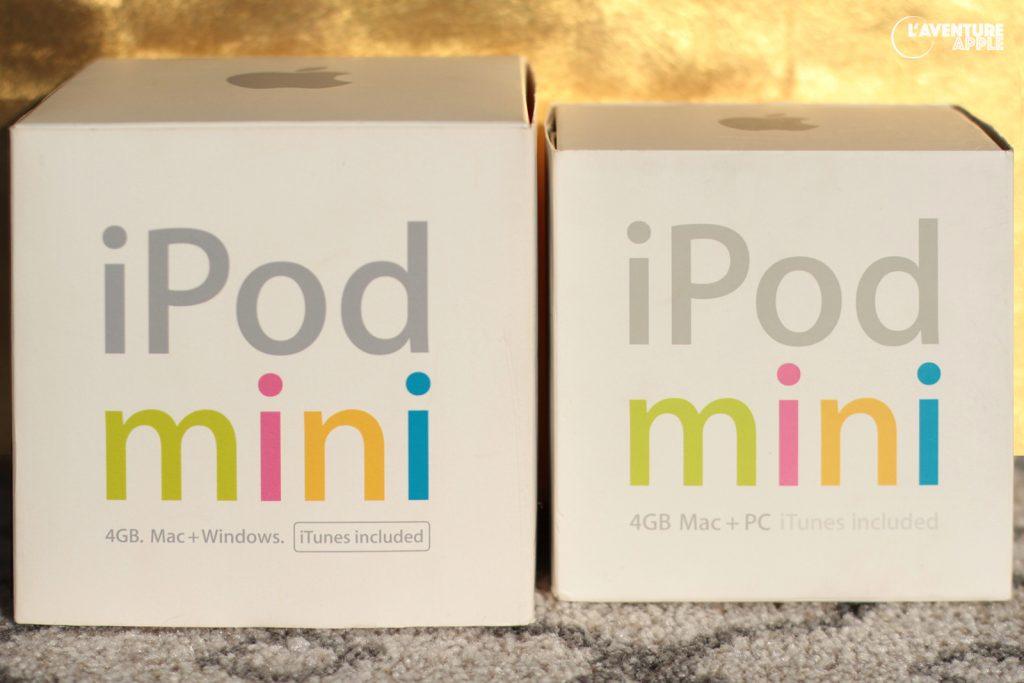 l'iPod mini 1G, en version Europe et version US.