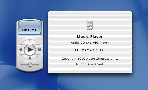 Mac OS X beta publique, Music Player