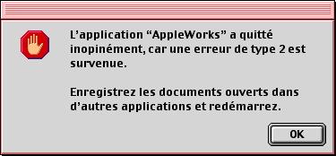 L'application AppleWorks a quitté inopinément