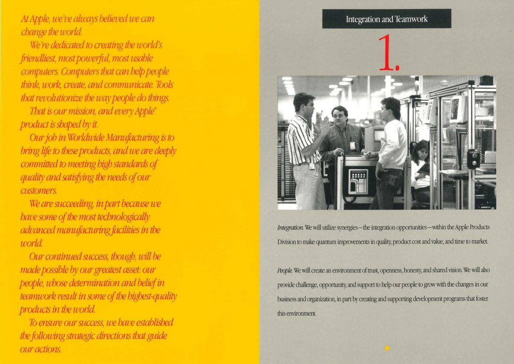 Brochure pour Apple Worldwide Manufacturing