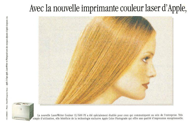 Publicité pour l'Apple LaserWriter Couleur 12/600 PS : les cheveux sont plus lisses, plus soyeux, plus beaux