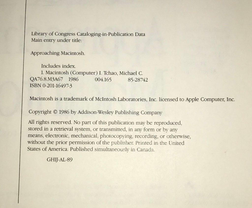 Approaching Macintosh : copyright McIntosh Laboratories