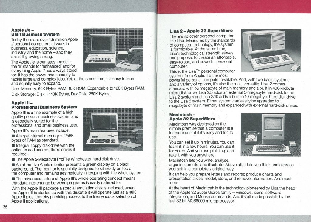 La gamme Apple en avril 1984