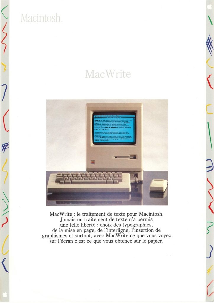 Brochure Macintosh SEEDRIN : MacWrite