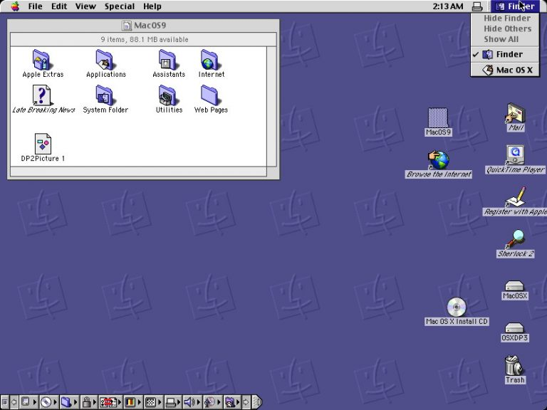 Classic sous Mac OS X Developper Preview 2