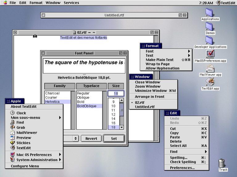 Menus détachables de Mac OS X DP1
