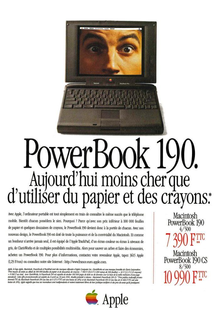 Publicité pour le PowerBook 190 : aujourd'hui moins cher que d'utiliser du papier et des crayons