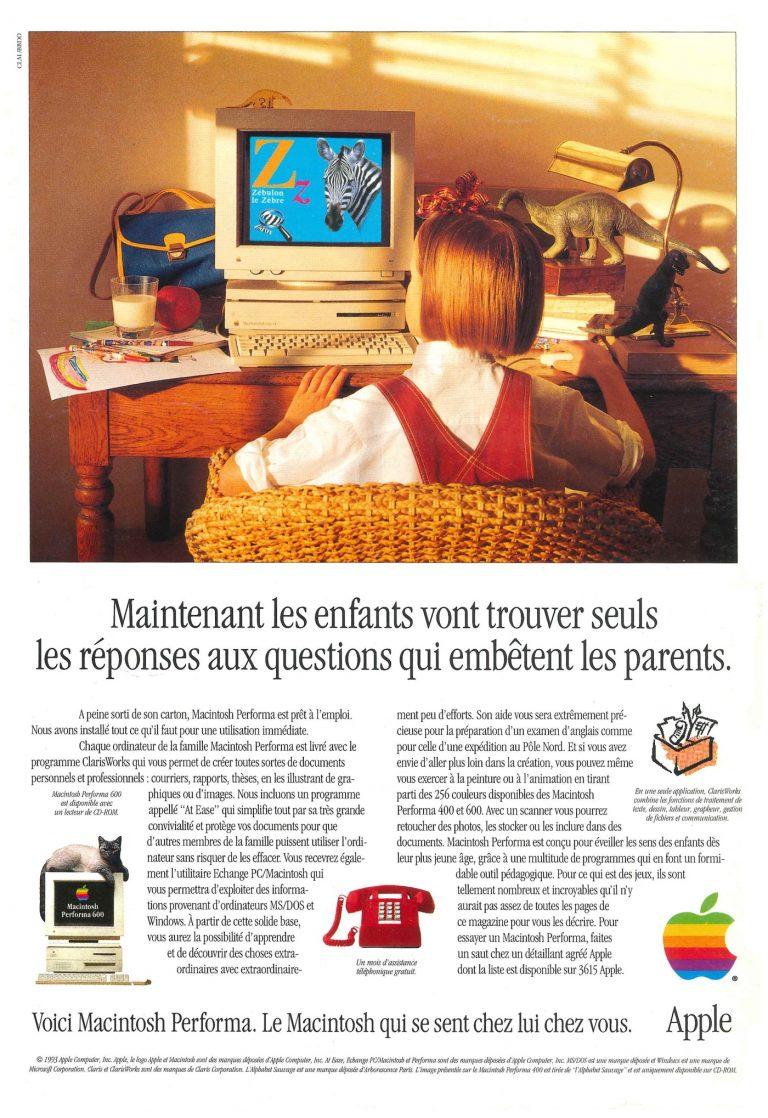 Macintosh Performa : maintenant, les enfants vont trouver seuls les réponses aux questions qui embêtent les parents