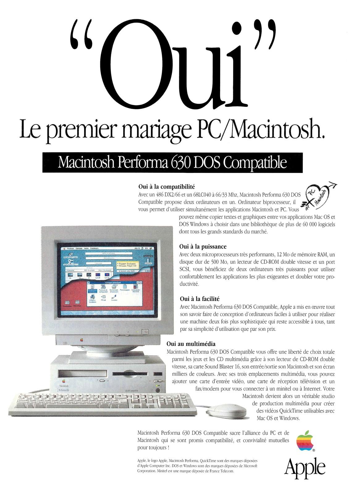 Publicité Apple Performa 630 DOS Compatible de 1995