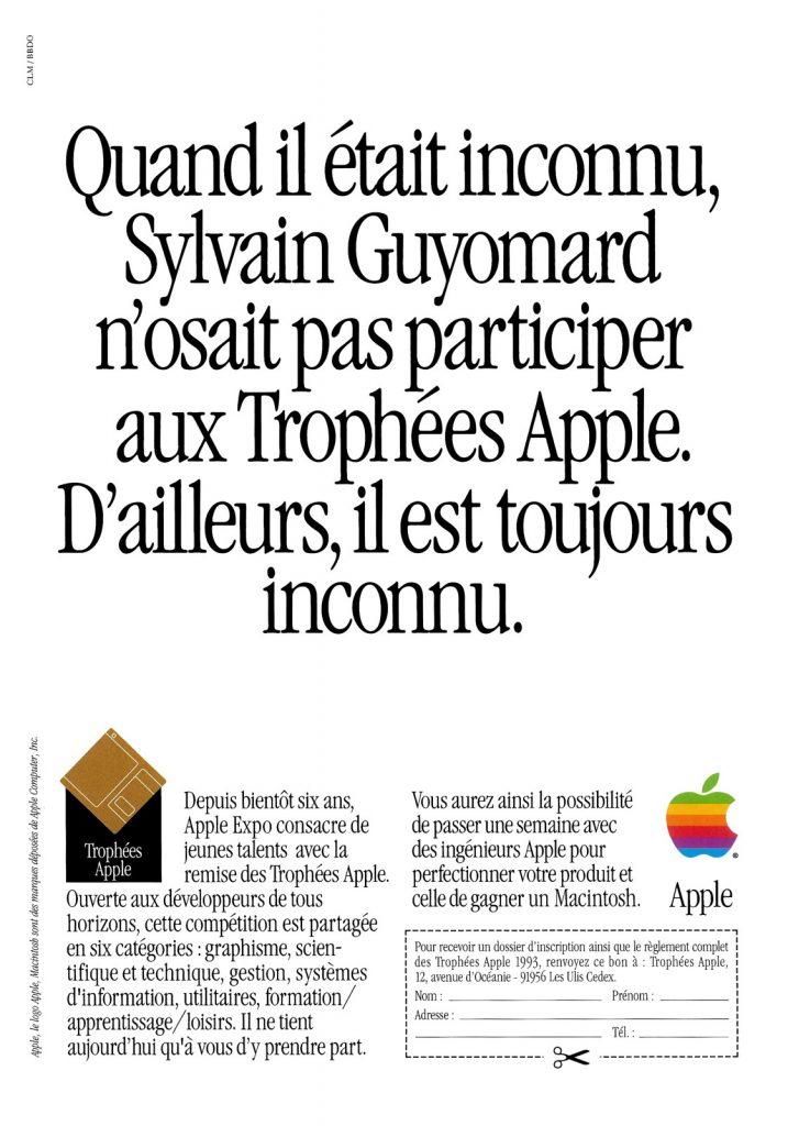 Publicité pour les Trophées Apple, avec Sylvain Guyomard
