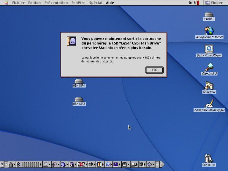 L'éjection d'une catouche USB sous Mac OS 9