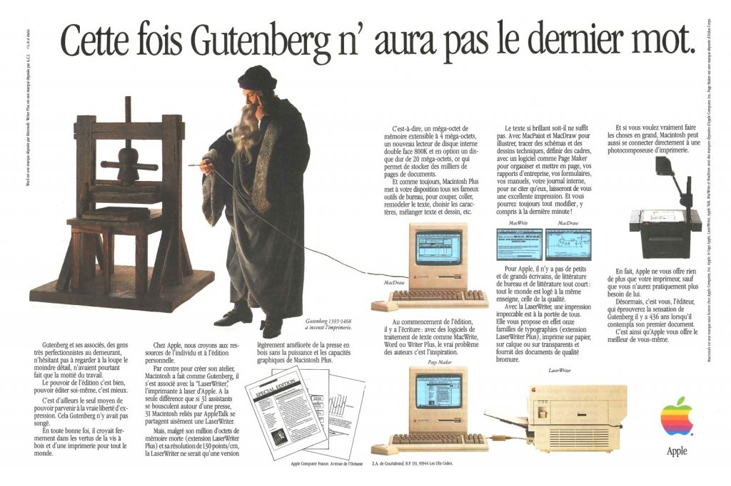 Apple Gutemberg Ad 1985
