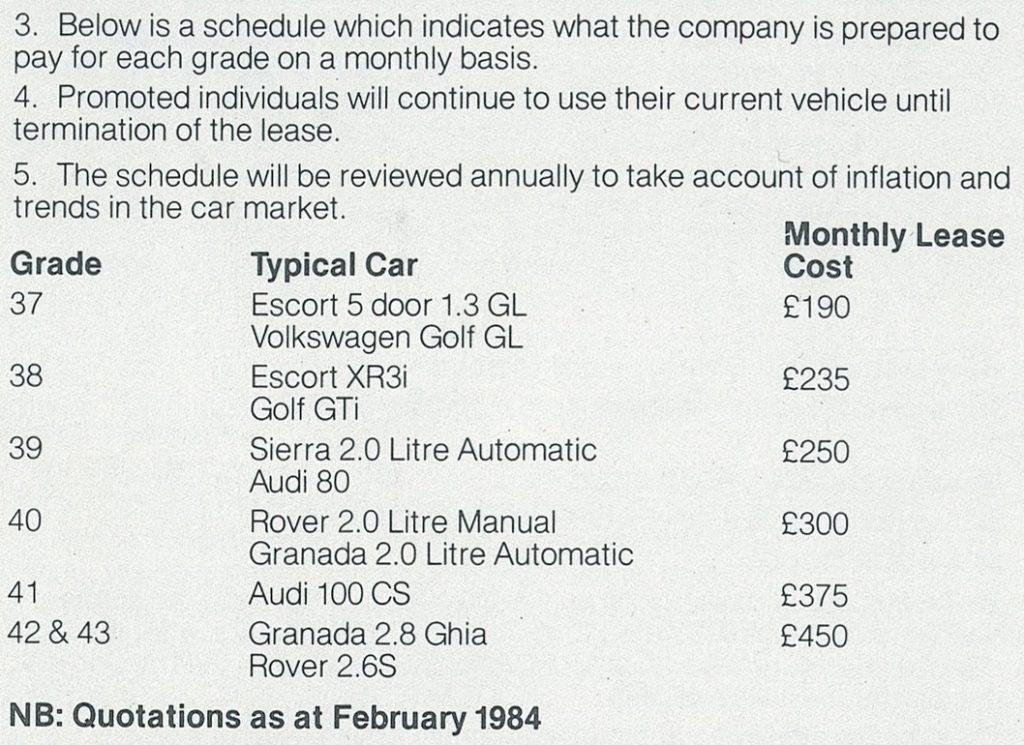Apple 1984 company vehicle policy