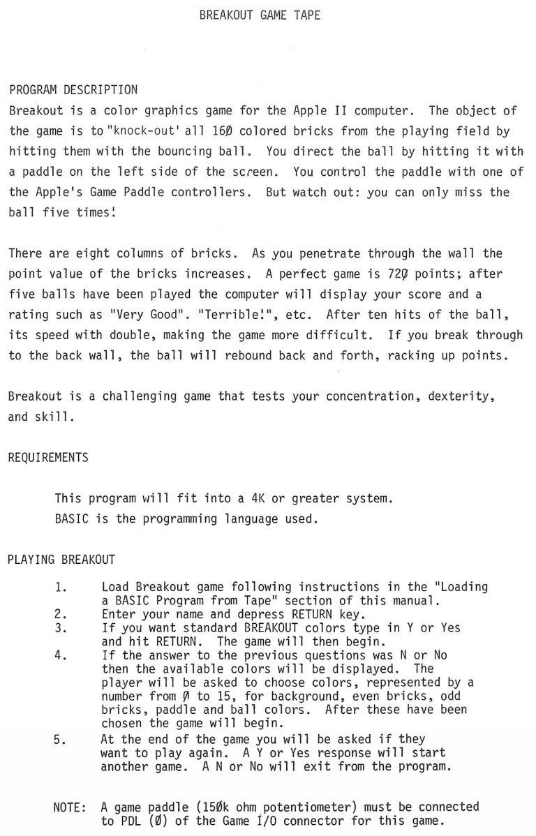 Le code source du jeu Breakout par Steve Wozniak, pour Apple et Apple II
