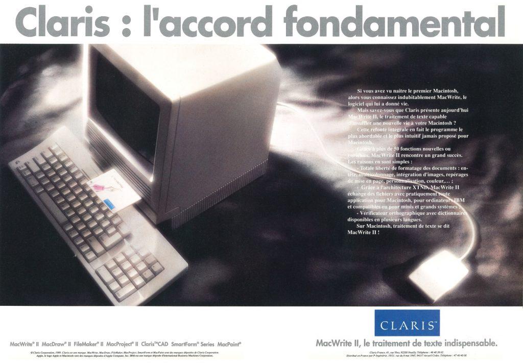 Publicité pour Claris MacWrite II