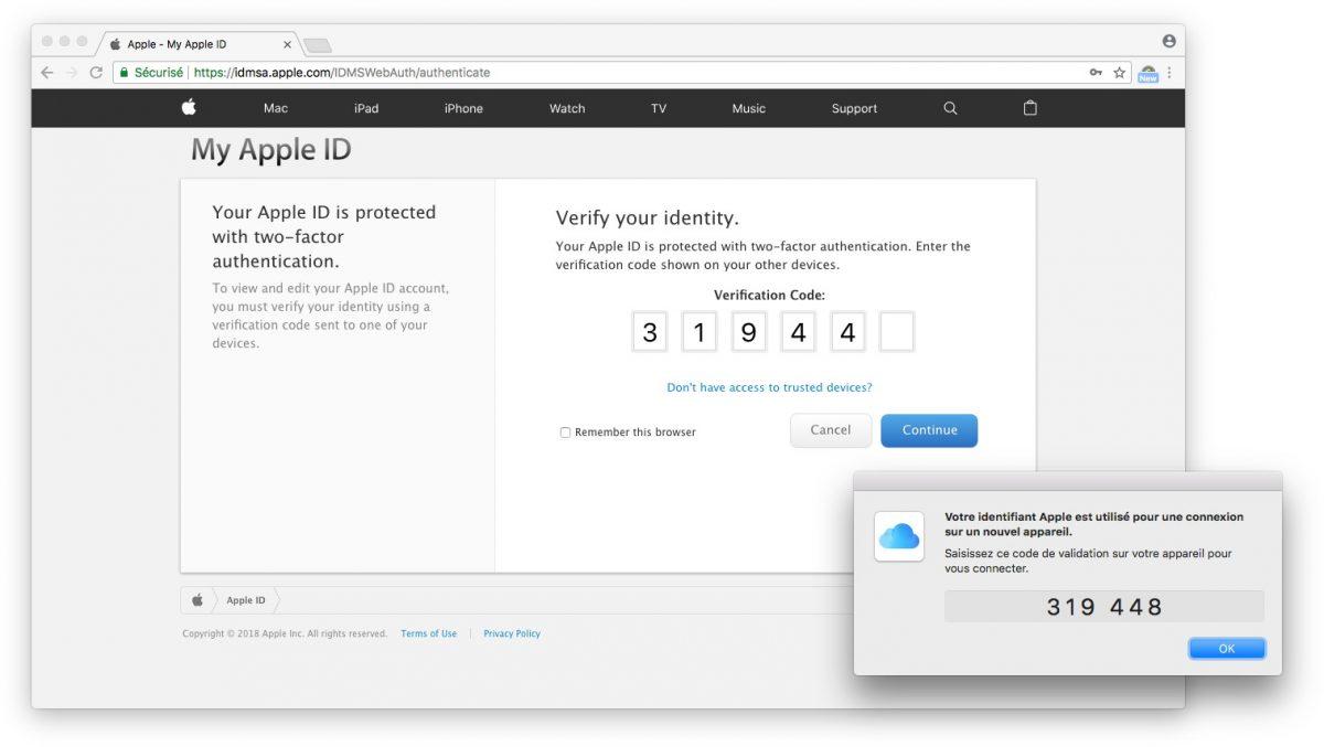 Identification à double facteur d'Apple