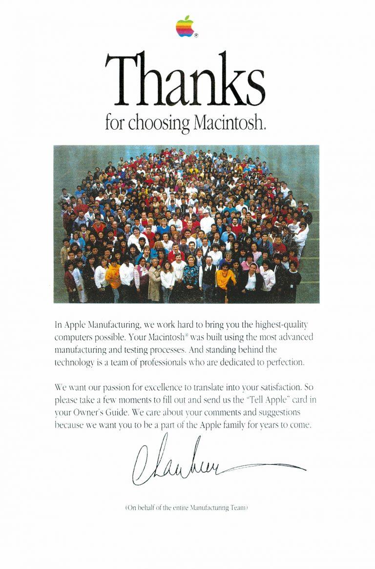 Thanks for choosing Macintosh - Apple Manufacturing
