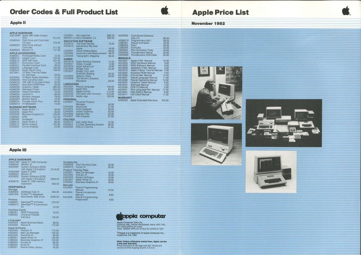 Apple Price List November 1982