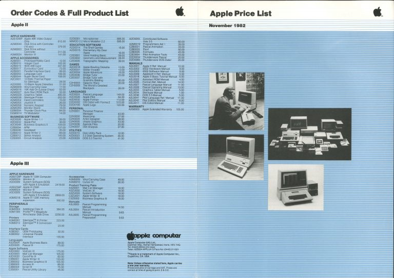 Apple Price List November 1982