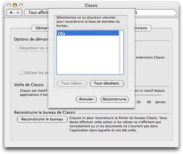 Reconstruire le bureau d'un disque (Macintosh Mac OS X)
