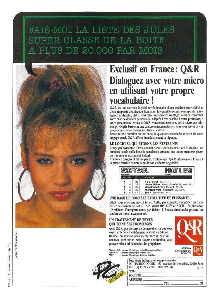 Publicité 1986 PC Technologie
