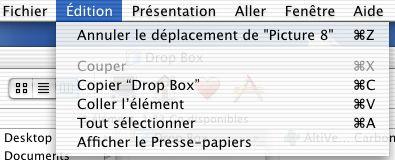 Finder Mac OS X - Annuler la dernière action