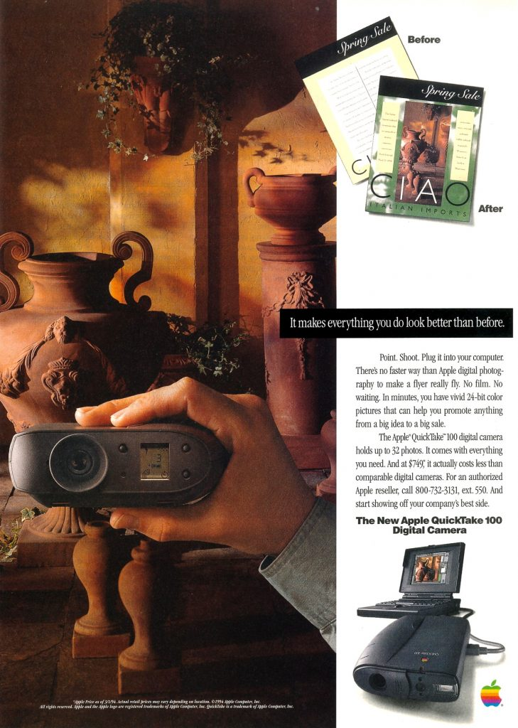 Apple QuickTake 100 ad from 1984