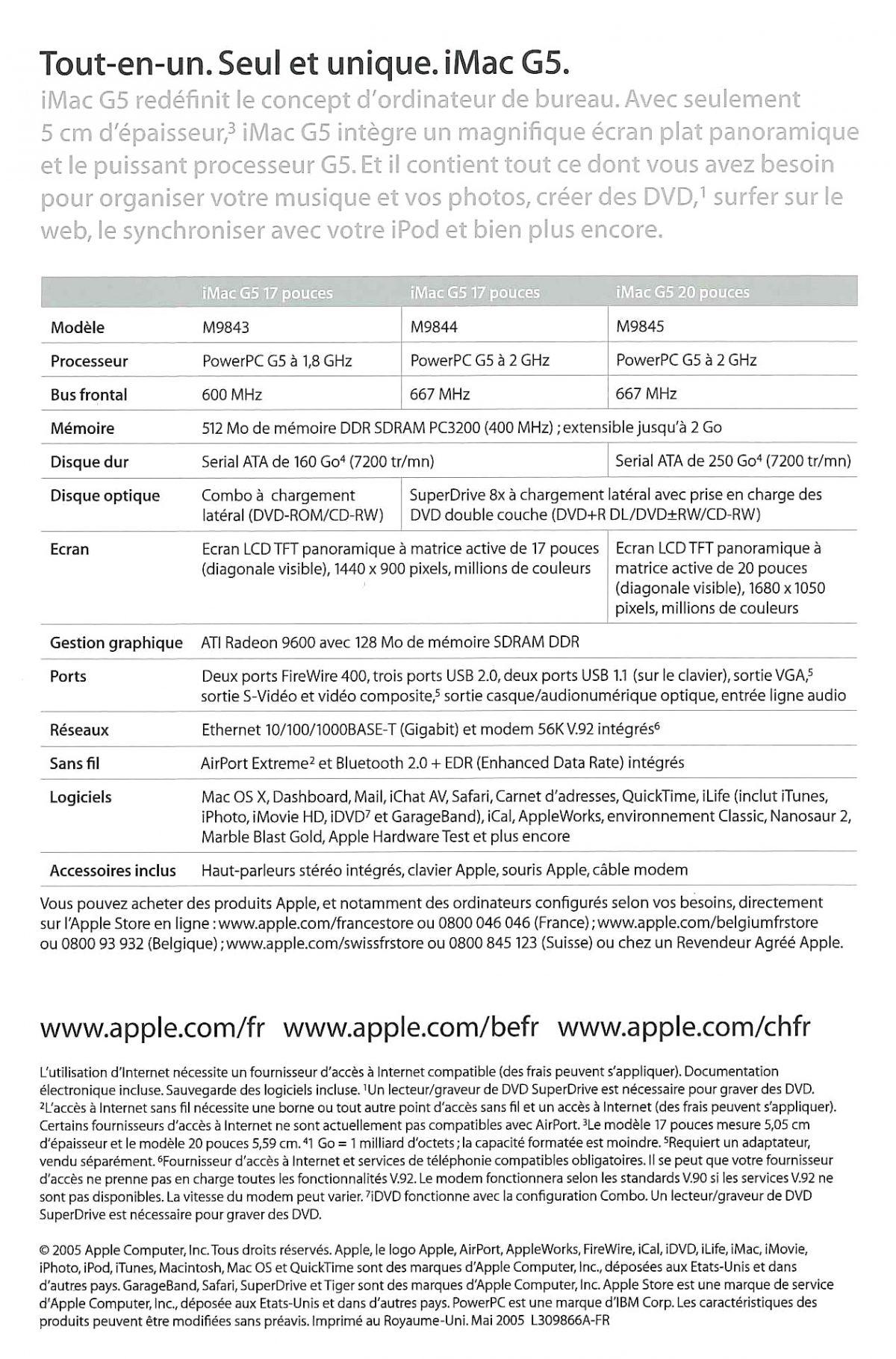 Brochure iMac G5 verso