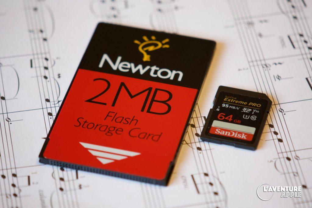 Newton 2MB flash memory card VS SD Card