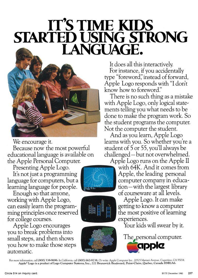 Apple 1982 Logo language ad