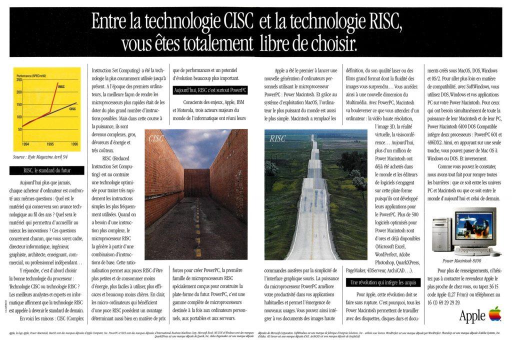 Apple publicité 1994 RISC, CISC