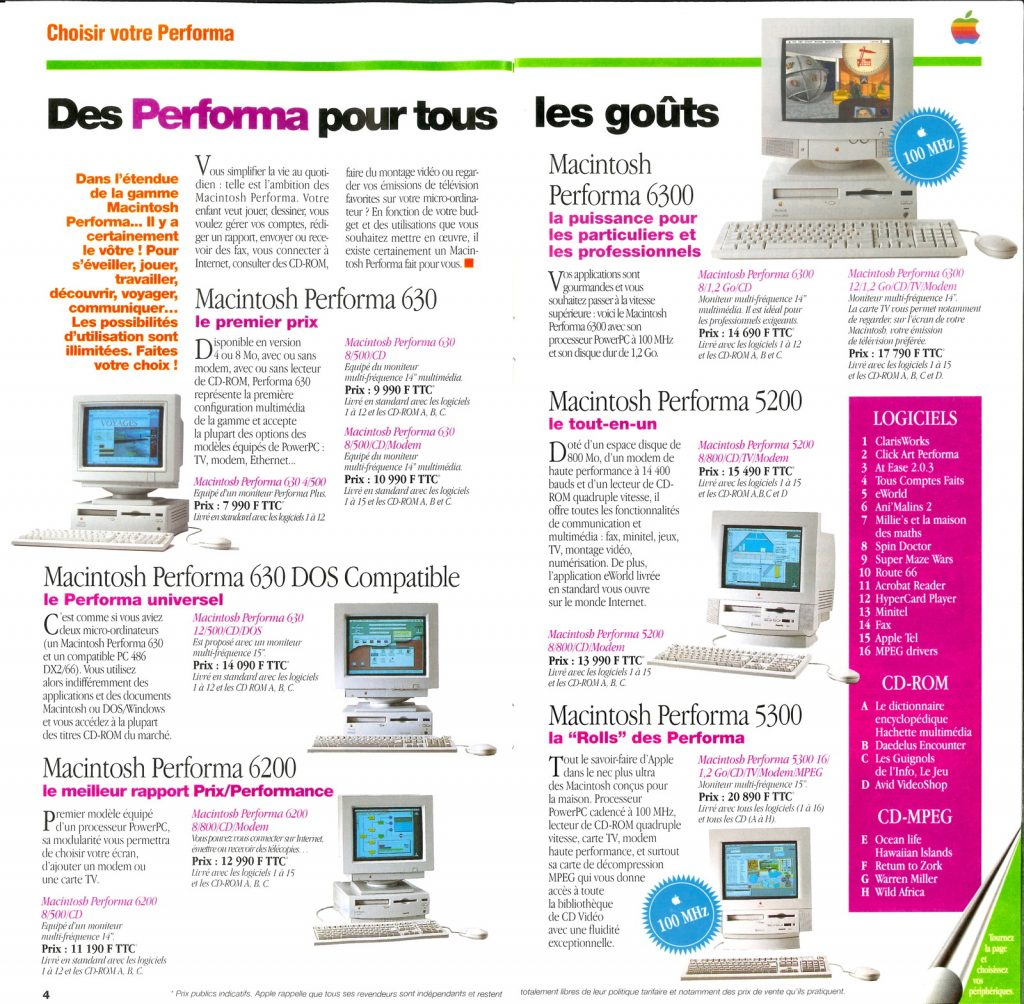 Gamme Apple Performa 1995