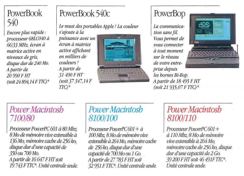 Tarifs 1995 Apple gamme PowerMacintosh PowerBook