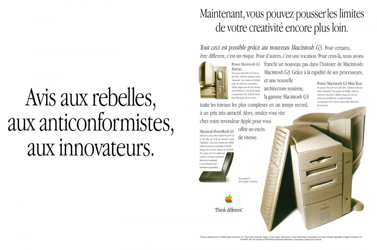 Publicité Apple 1998 PowerMacintosh G3