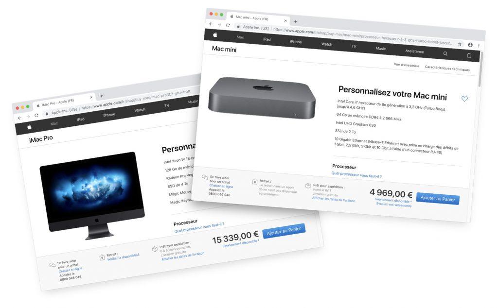 Tarif de l'iMac Pro et du Mac mini en 2018