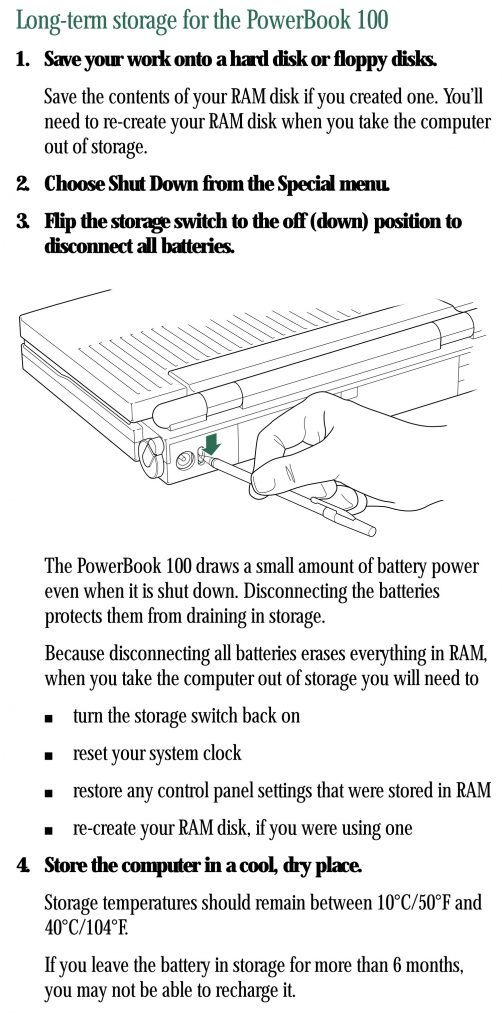 PowerBook 100 Battery Switch Long-Term Storage