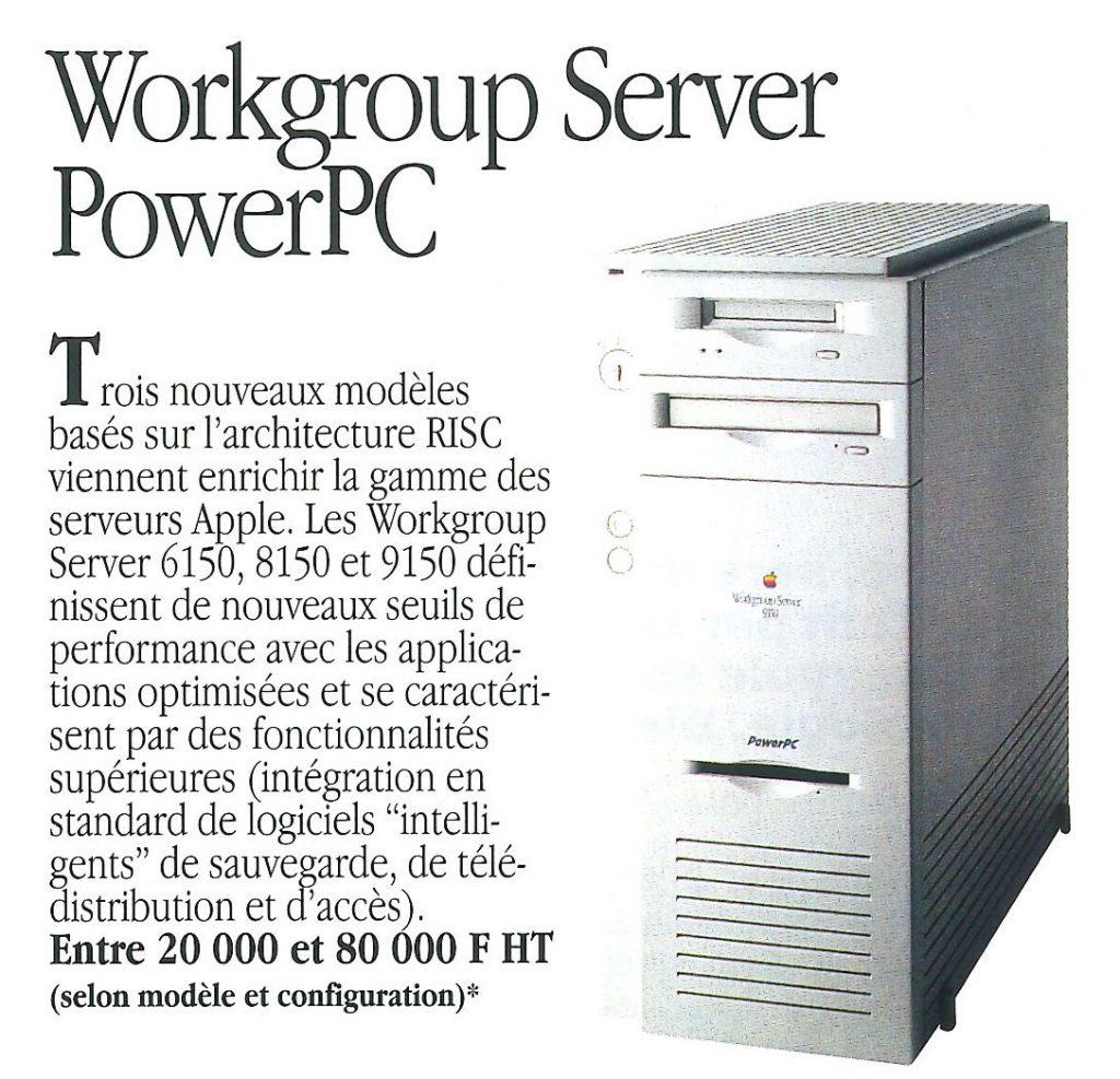 Tarif du Workgroup Server en 1994