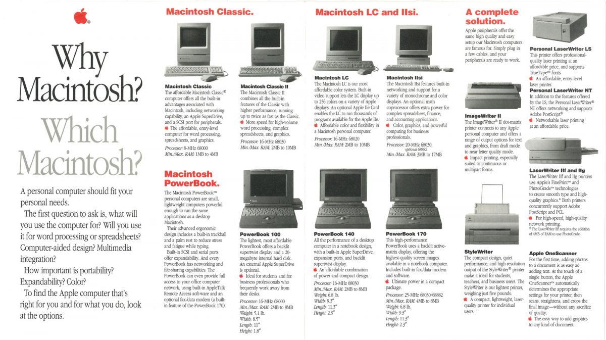 Why Macintosh ? Which Macintosh ? 1991 Apple brochure