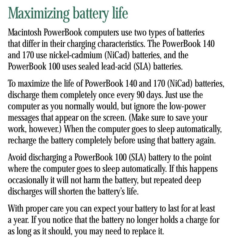 PowerBook 100 user manual, battery life
