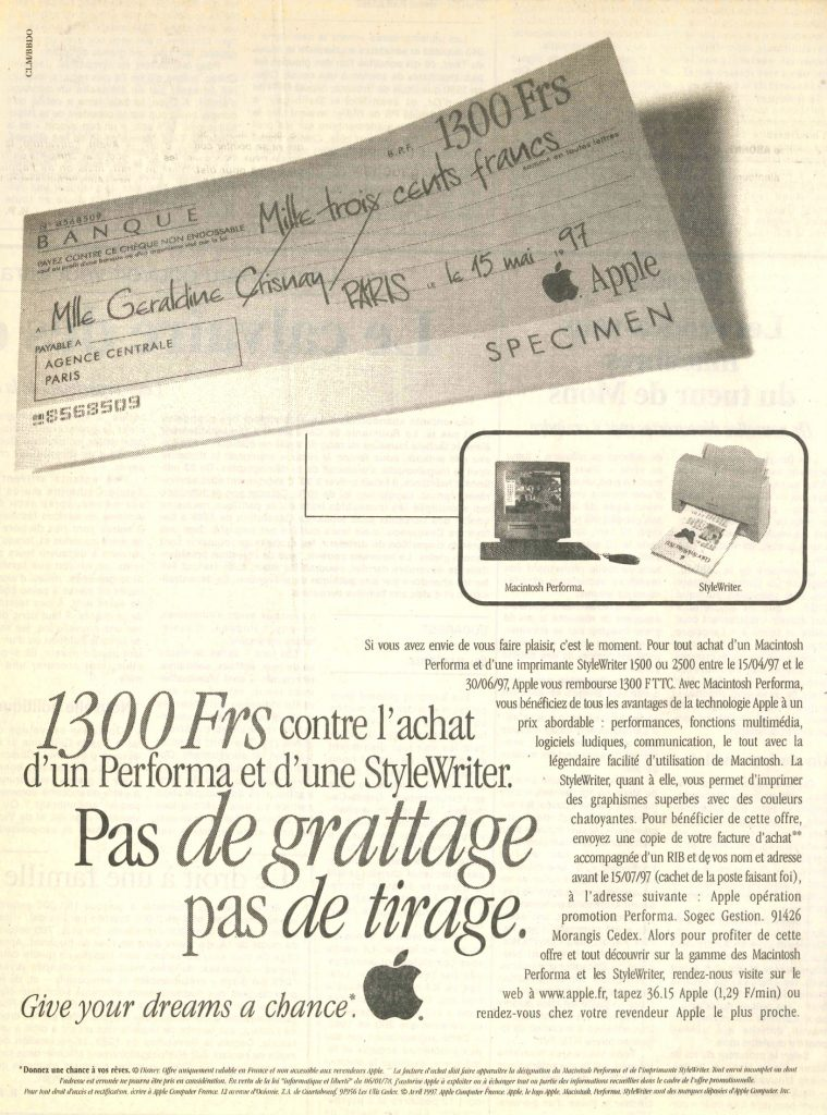 Publicité Apple 1997 : pas de grattage, pas de tirage